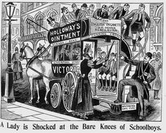 Illustrated Police News – Saturday 31 October 1896 was reporting the dreadful scene on a London omnibus whereby a lady fell into shock at the sight of the knees of a collection of boys who had just been playing football.