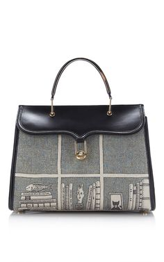 Marguerite Tweed Library Embroidered Top Handle Bag by OLYMPIA LE-TAN for Preorder on Moda Operandi