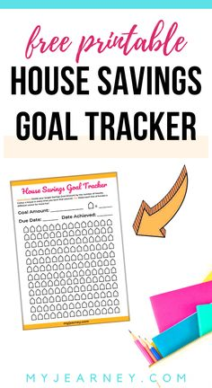 Free Printable: House Savings Goal Tracker to help you make saving fun and buy your dream home sooner. Related Post: 11 Ways to Save Up for A Home Fast planner finance tracker Finance Tracker, Finance Blog, Printable Planner, Free Printables, House Down Payment, Savings Goal, Money Activities, Spending Tracker, Tracker Free
