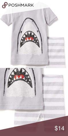 12-18 NWT Old Navy gray SHARK mouth stripe pajamas NWT 2c9931dba