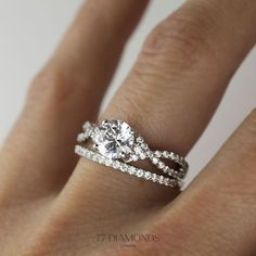 Our Lola engagement ring with Vogue Medi as wedding band are handcrafted for you. #proposal #wedding #bride