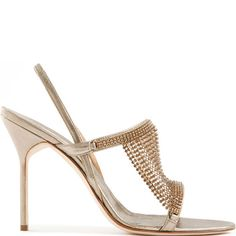 Manolo Blahnik leather-and-metal mesh sandal