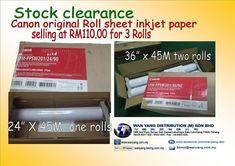 Canon original Roll sheet inkjet paper stock clearance Stock Clearance, Canon, Printer, The Originals, Paper, Cannon, Printers