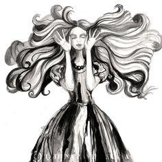 Sleepwalker. Fashion illustration. Watercolor and ink Drawing 8 X 10. via Etsy.