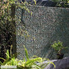 Outdoor Black standing pebble tile wall