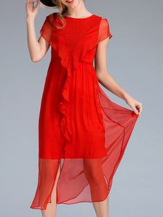 Buy it now. Red Ruffle Split Shift Dress. Red Round Neck Short Sleeve Polyester Shift Plain Fabric has no stretch Summer Casual Day Dresses. , vestidoinformal, casual, camiseta, playeros, informales, túnica, estilocamiseta, camisola, vestidodealgodón, vestidosdealgodón, verano, informal, playa, playero, capa, capas, vestidobabydoll, camisole, túnica, shift, pleat, pleated, drape, t-shape, daisy, foldedshoulder, summer, loosefit, tunictop, swing, day, offtheshoulder, smock, print, printed,...