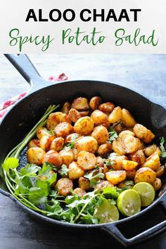 Aloo chaat is a serving of shallow fried baby potato halves in a medley of spices and a dash of tamarind chutney. Indian Potato Recipes, Indian Food Recipes, Vegetarian Recipes, Cooking Recipes, Indian Snacks, Veg Recipes, Easy Recipes, Salad Recipes, Healthy Recipes