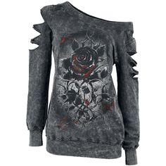 """Extravagancia con estilo, algo que le sobra a la sudadera mujer """"Roses nest"""" de Alchemy England. Sobre el fondo negro y gris aparece una rosa negra. Con tres cortes en cada manga, y costuras por fuera."""