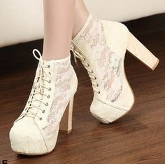 Women Round Toe Platform Lace Flower Thick High Heels Lace Ups Ankle Boots Shoes