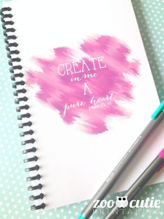 Create in me a pure heart journal by Tina Milas of Zoo Cutie Printables. #journal #faith #christian