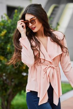 Portrait Photography Poses, Ruffle Blouse, Girls, Long Sleeve, Model, Sleeves, Pink, Jackets, Color