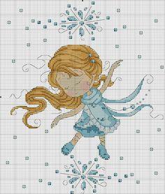 snowflake dance la reine des neiges en point de croix
