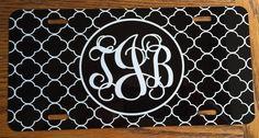 Monogrammed license plate black white quatrefoil by KACExpress