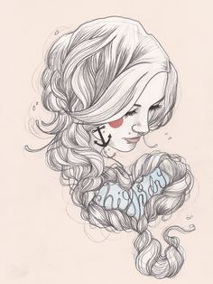 """High & Dry - Tattooed Illustration - Liz Clements is a London-based illustrator with a style that is heavily inspired by tattoo culture.  """"My illustrations are hand rendered and finished using Photoshop and Illustrator. I predominantly draw portraits, influenced by a broad range of imagery from Pre-Raphaelite women, and the work of classical artist's such as Klimt and Schiele to Marvel and Disney.""""    - Liz Clements"""
