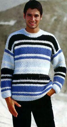 мужской пуловер с сетчатым патентным узором
