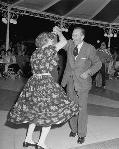 """1958 Photo: Walt Disney Dances The Night Away at Disneyland Park"" Carnation Plaza Gardens #disney #waltdisney #disneyland"