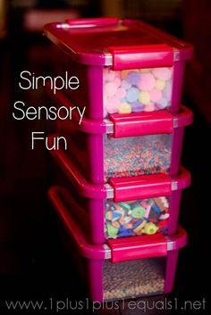 Simple Sensory Fun ~ weekly mini bins rotated with new items each week from @{1plus1plus1} Carisa #sensory #preschool