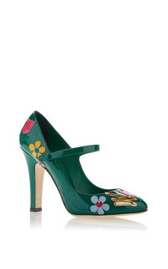 Emerald Patent Mary Jane Via Mamma Pump With Multicolor Applique by Dolce & Gabbana for Preorder on Moda Operandi