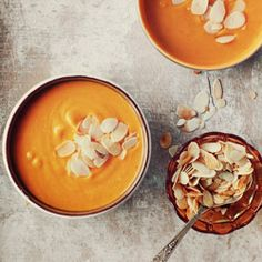 YUMMM pumpkin soup with almonds!  Note...this recipe is in Polish.  Unless you're @Tiana Zee Zee Kupinski, you'll need to translate it...