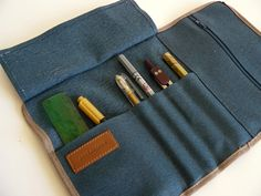 Roll up pencil case -Waxed/resined canvas blue roll up // adults pencil case/gift for him/ gift for her