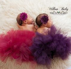 Newborn twin baby girls in tutus Willow Baby Photography