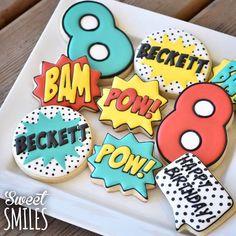 superhero cookies … - Visit to grab an amazing super hero shirt now on sal Superhero Cookies, Superhero Cake, Superhero Birthday Party, 4th Birthday Parties, Birthday Fun, Batman Cookies, Cake Birthday, Birthday Ideas, Galletas Cookies