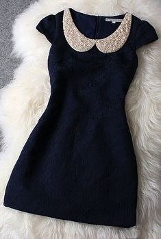 Dark Blue Dress With Pearl Beaded Collar