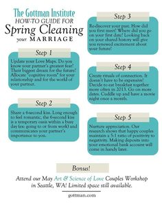 Relationship Spring Clean via The Gottman Institute: