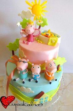 Ciupakabra added a new photo — with MJ Gomez Jones. Sweet Cakes, Cute Cakes, Beautiful Cakes, Amazing Cakes, Peppa E George, Peppa Pig Birthday Cake, Fantasy Cake, Sugar Cake, Character Cakes