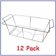 """(Pack of 12) Buffet Chafer Food Warmer Wire Frame / Stand / Rack - Full Size by Chef Kitchen. $69.39. To be used for off-site catering, mini-buffet stations, outdoor events, party rooms Etc.. Ease of cleaning and light weight. -12 Pcs.- Chrome plated aluminum foil wire stand, Dimensions: 22¾"""" x 12¼"""" x 9"""". Holds aluminum foil tray securely and in place for all your catering needs. Durable construction to store set up and serves over and over again. Chrome plated aluminum ..."""