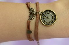 Retro Watch Clock Charm Bracelet Antique bronze Charms Bracelet Brown Leather Bracelet Men Bracelet Women Bracelet by SherryJewelry, $3.58