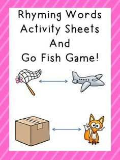 Rhyming Words Activity Sheets and Go Fish game combo!