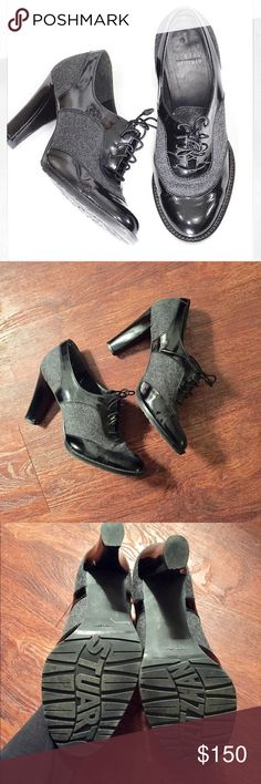 "Stuart Weitzman black and gray oxford heels EXCELLENT used condition gray and black oxford heels by Stuart Weitzman!! True to size. Genuine patent leather. 3"" heel. These shoes have the best laces ever... they're elastic! Timeless heels that will never go out of style Stuart Weitzman Shoes Heels"