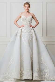 Maison Yeya's 2017 bridal collection, by Egyptian-French designer Yasmin Yeya, presents a feminine bouquet of exquisitely structured lace wedding dresses. Amazing Wedding Dress, Beautiful Wedding Gowns, Beautiful Dresses, Bridal Dresses, Bridesmaid Dresses, Wedding Attire, Gown Wedding, Lace Wedding, Blue Ball Gowns