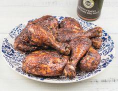 DCD BBQ Chicken, featuring DCD Sweet 'n' Spicy Cocoa Rub, DCD Sweet 'n' Smokey Chocolate BBQ Sauce and DCD Zesty Ginger Sea Salt