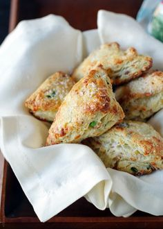 A recipe for Savory Scones with Gruyere, Prosciutto and Green Onion. Savor it with tea or coffee at brunch or pair with an earthy red wine as an appetizer. Buttermilk keeps these flavorful, cheesy scones moist; get this versatile recipe today! Prosciutto, Onion Recipes, Baking Recipes, Scone Recipes, Biscuits, Savory Scones, Cheese Scones, Recipe Today, Green Onions