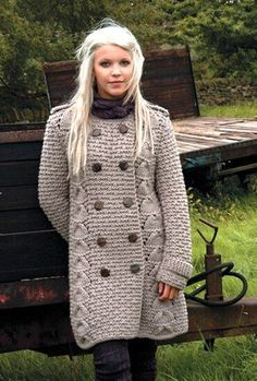 Knitting pattern forForest by Kim Hargreaves a double breasted coat in a text Tesettür Kombinleri Crochet Coat, Knitted Coat, Crochet Cardigan, Crochet Clothes, Knit Dress, Crochet Jacket, Gilet Long, Jacket Pattern, Knitting Accessories