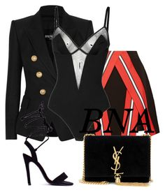"""BNA"" by deborahsauveur ❤ liked on Polyvore featuring Balmain, Tanya Taylor, Wolford and Yves Saint Laurent"