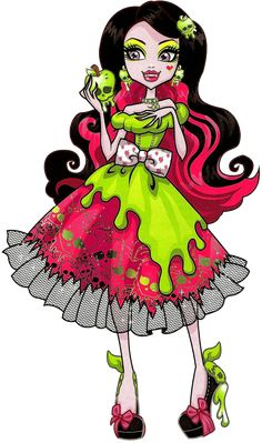 Monster High: Draculaura! Draculaura is the daughter of Dracula. Unlike most vampires, she is vegan and prefers not to drink blood. She is incredibly sweet and friendly, and always eager to make others happy. Her pet is a bat named Count Fabulous.