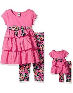 cb0de102d Dollie & Me Big Girls' Knit Tiered Mini Dress with Legging and Matching  Doll Outfit, Pink/Multi, 7 Three clip dot tiers on mini dress Functional  back tie ...