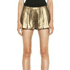 """A.L.C. Gold Pleated Shorts Like new. Back zip closure with side pockets. Waist is 15.5"""" measured flat across. Length is 12"""". Lovecthese but the waist it too tiny on me. :( WILL TRADE IF YOU HAVE THEM IN A SIZE 6 A.L.C. Shorts"""