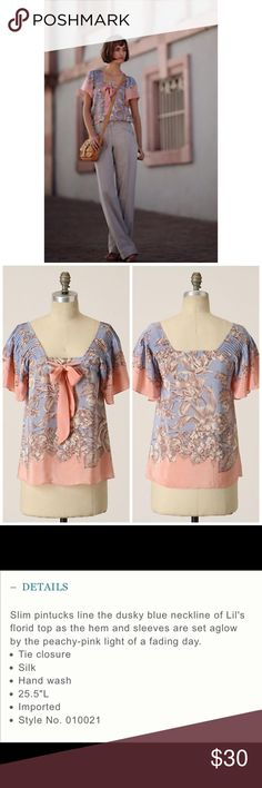"""Anthropologie Approaching Sunsets Blouse Sz 6 Gorgeous! EUC, no flaws. Length is 25.5"""". 17"""" armpit to armpit. THC616 Anthropologie Tops Blouses"""