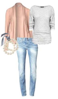 pin and grey with light wash jeans