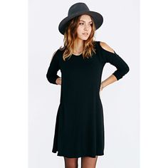 Black Off The Shoulder Long Sleeve Casual Dress ($13) ❤ liked on Polyvore featuring dresses, black, black knee length dress, black dress, long sleeve knee length dress, sleeve shift dress and long sleeve dresses