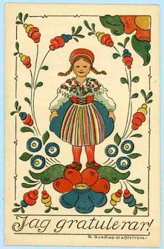 Sundius Dahlstrom postcard Girl with flowers folkart used 1919 Swedish Christmas, Scandinavian Christmas, Folk Art Flowers, Flower Art, Vintage Cards, Vintage Postcards, Scandinavian Folk Art, Girls With Flowers, Illustrations