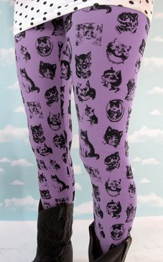 I want these! Violet Kitty Leggings L by PrettySnake on Etsy, $58.00