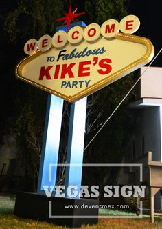 Letrero Vegas personalizado para fiesta casino