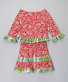 Red Floral & Plaid Dress - Infant, Toddler & Girls by Helene's Closet #zulily #zulilyfinds