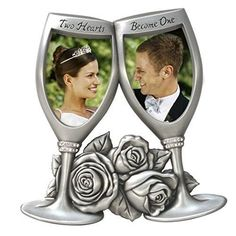 Champagne Glasses Metal Wedding Picture Frame 2x3 Anniversary Gifts Valentines  #ChampagneGlassesMetalWeddingPictureFrame
