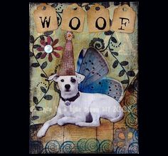 WOOF  Dog  Altered Art Card Collage ACEO ATC by LisasMenagerie, $5.99